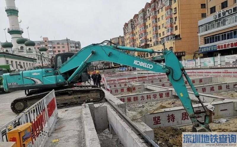 哈尔滨地铁3号线2期工程二阶段清真寺站主体结构深基坑近日率先开挖