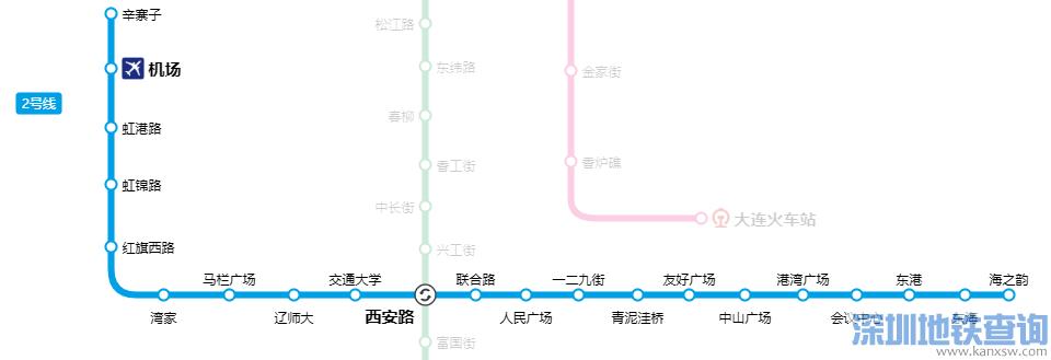 2019大连地铁2号线最新首末班车运营时间表、线路图、站点、票价