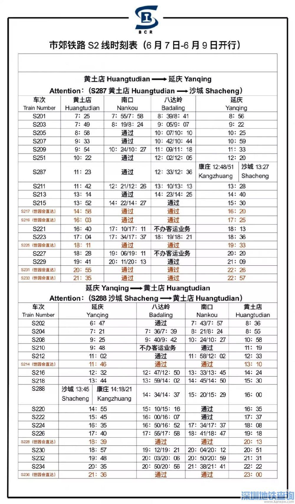 2019年6月5日起S2线最新时刻表及票价
