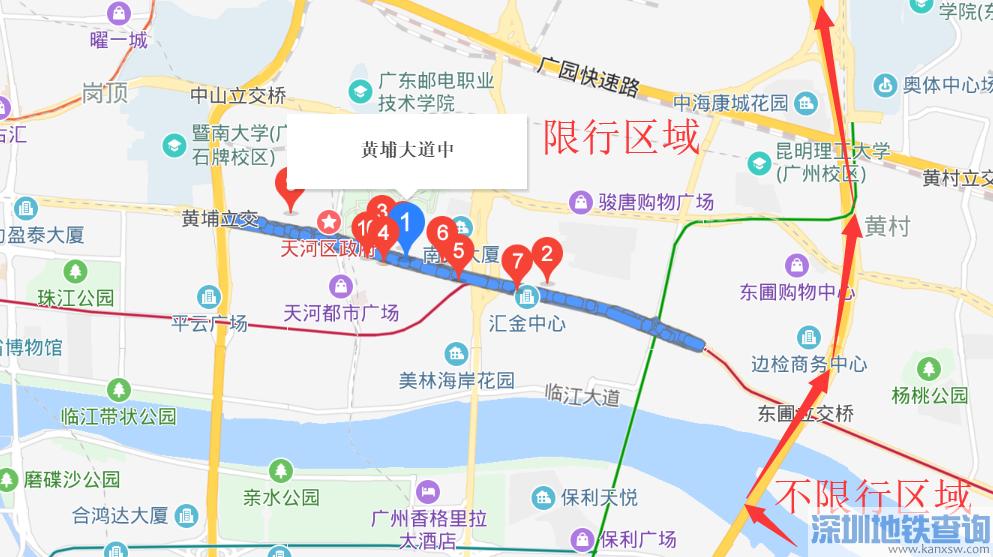 广州黄埔大道中限行吗?