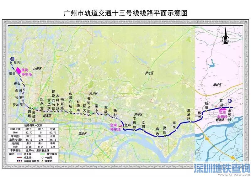 广州地铁13号线二期2019最新线路图、站点设置、开通时间