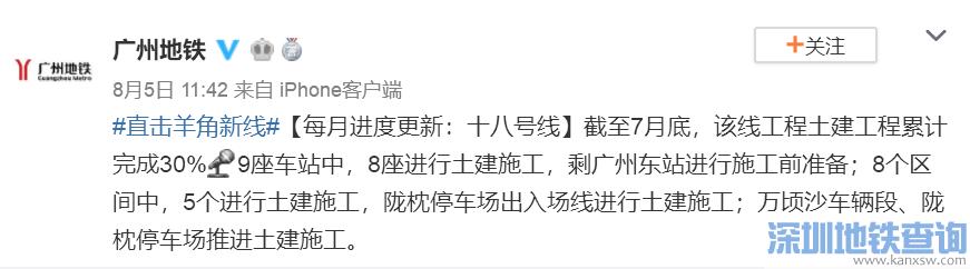 广州地铁18号线2019年8月最新进展 土建完成30%