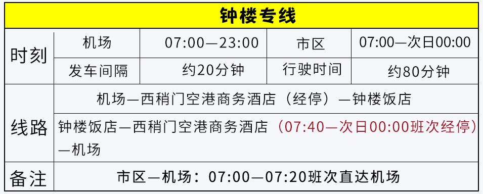 西安机场巴士部分线路运行时刻9月2日起变更通知