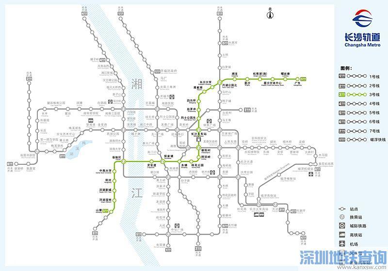 长沙地铁3号线一期站点具体位置分布、换乘站、周边楼盘