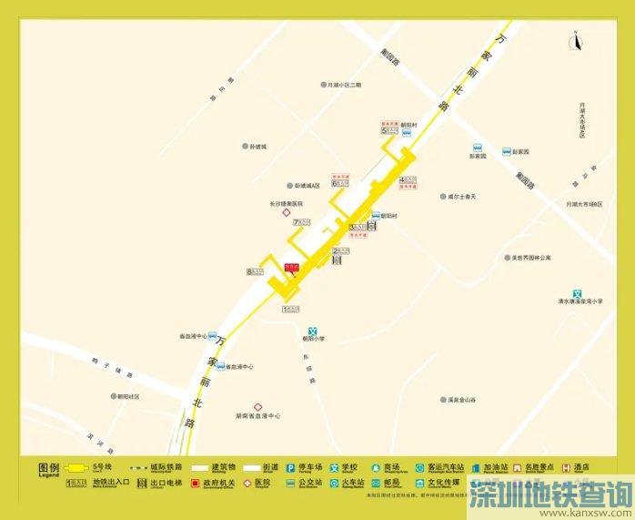 长沙地铁5号线鸭子铺站出入口分布、周边可换乘的公交线路、地标