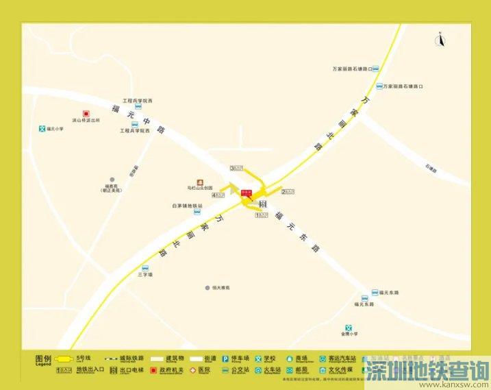 长沙地铁5号线白茅铺站出入口分布、周边可换乘的公交线路、地标