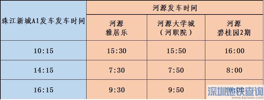 广州珠江新城A1招呼站11月10日起新增河源线路 附发车时间