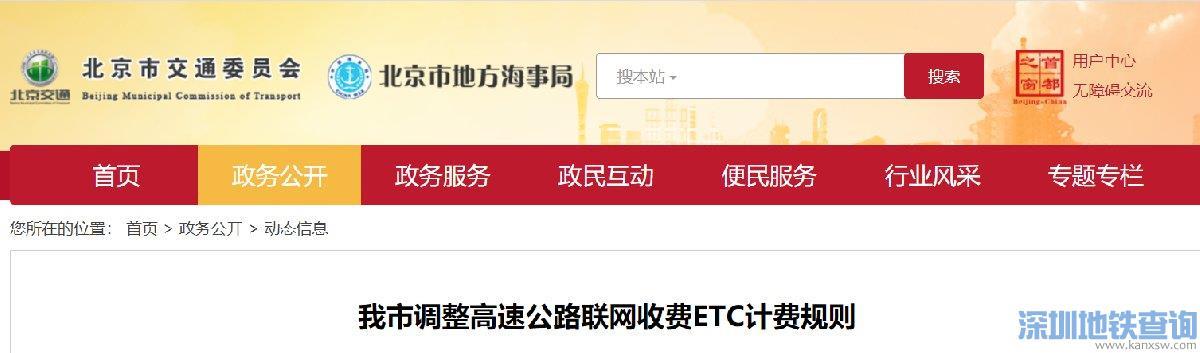 北京市5月6日起调整高速公路联网收费ETC计费规则