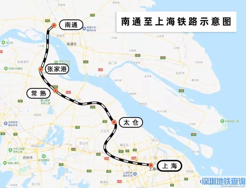 通沪铁路一期规划站点位置分布