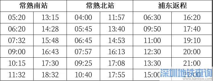 常熟机场专线大巴2020最新班次时刻表