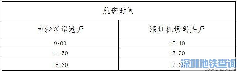 2020广州到深圳首条水巴首末班运营时刻表