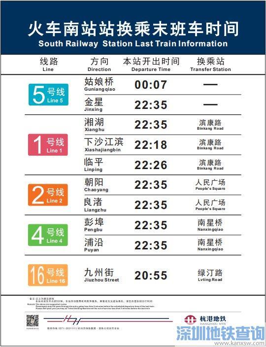 杭州地铁5号线火车南站站首末班车运营时间表 最晚一班车什么时间