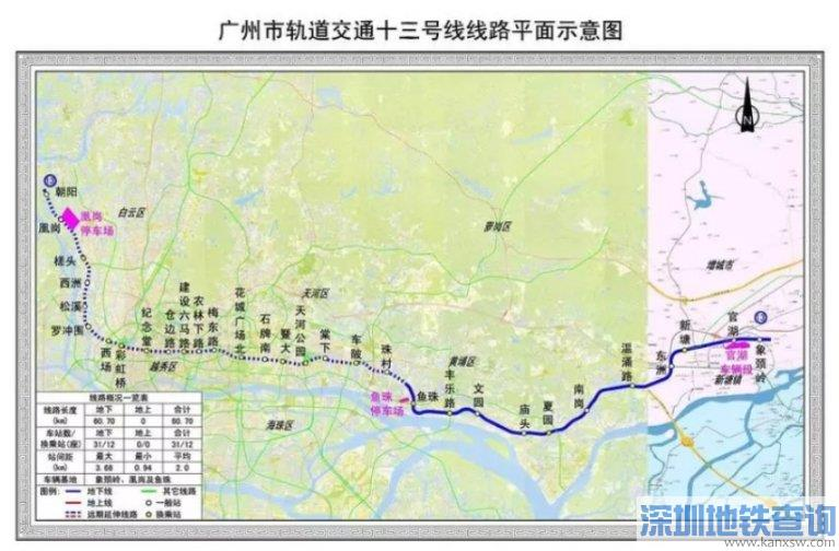 广州地铁13号线二期天河区段9个站点目前均已开工建设