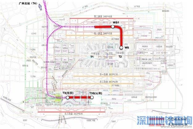2020广州白云机场4条捷运系统最新规划图一览