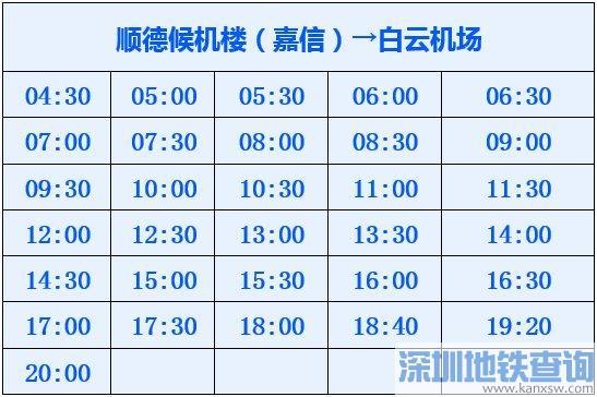 白云机场顺德嘉信候机楼大巴运营时间表一览