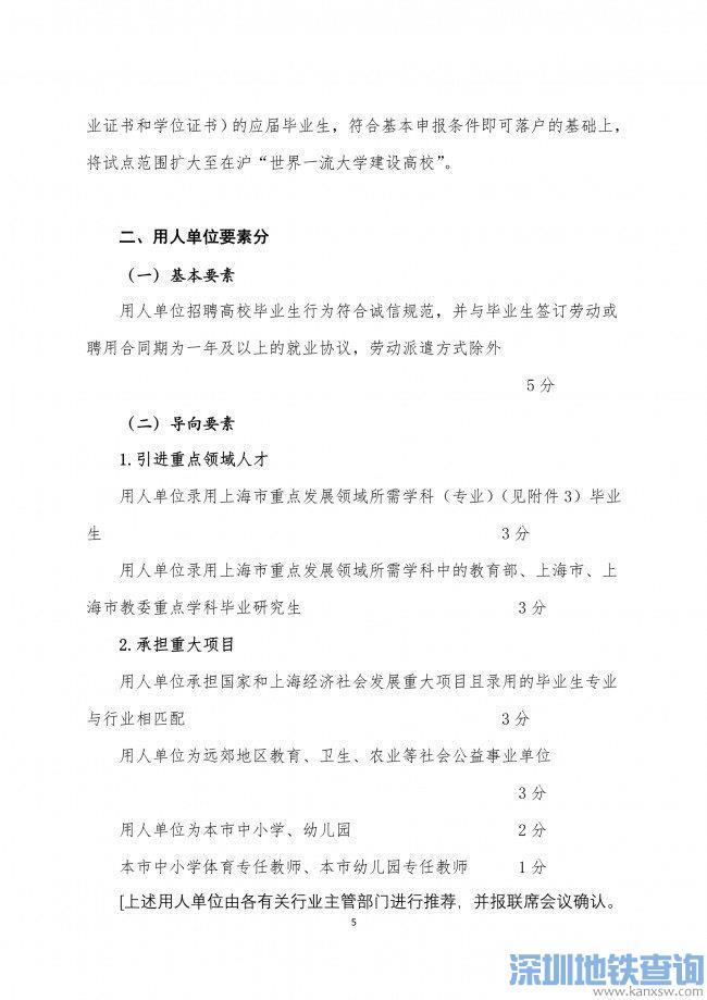 2020年非上海生源应届普通高校毕业生进沪就业申请本市户籍评分办法一览