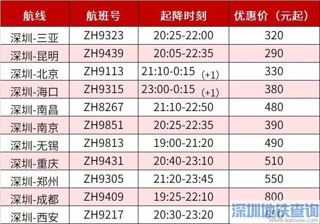 深圳航空2020中秋节赏月航班时刻表