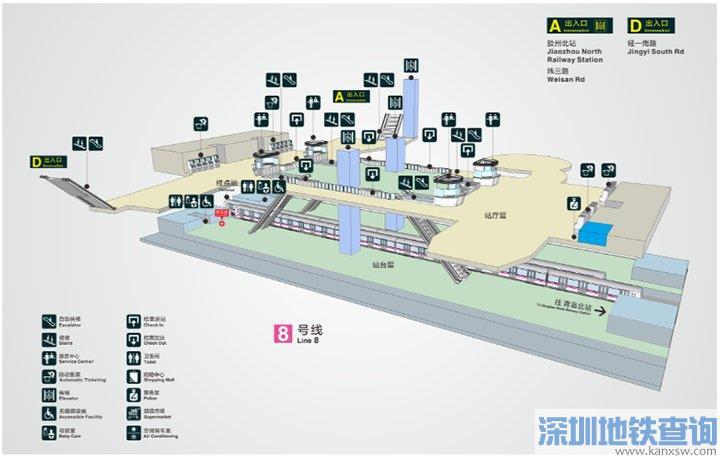 青岛地铁8号线胶州北站出入口位置分布、附近公交站点可换乘公交线路一览
