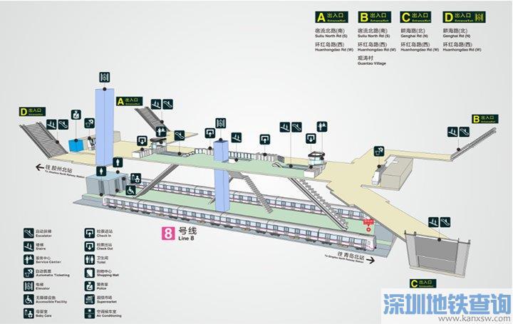 青岛地铁8号线观涛站出入口信息、换乘公交