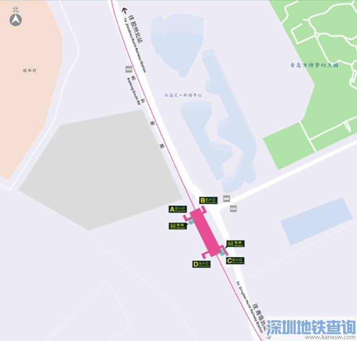 青岛地铁8号线红岛科技站出入口位置分布、附近公交站点可换乘公交线路一览