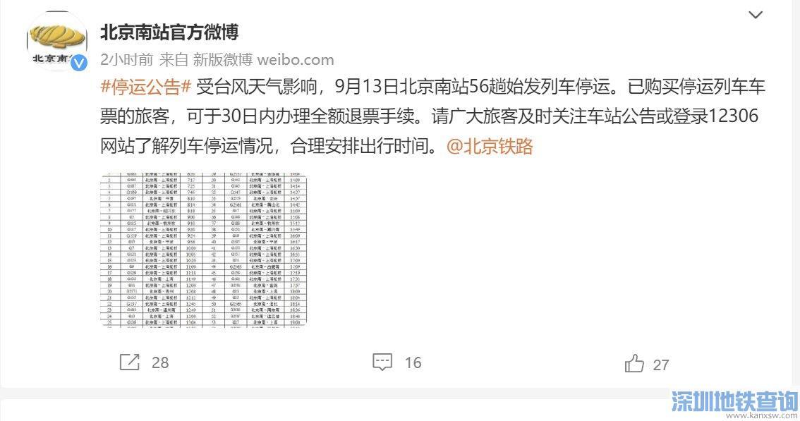 北京南站9月13日56趟始发列车停运车次一览表