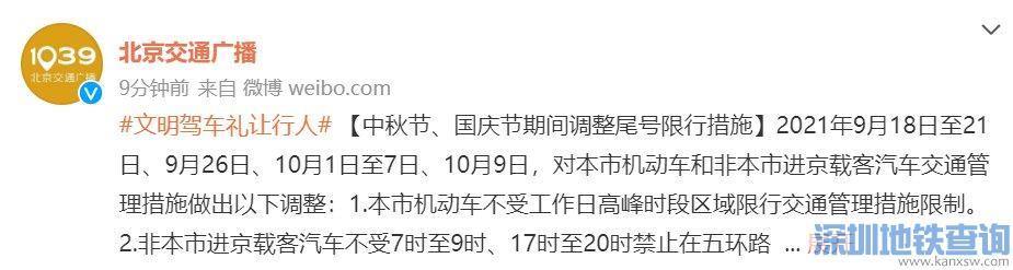 2021北京中秋节期间限行限号吗?节假日限号吗?