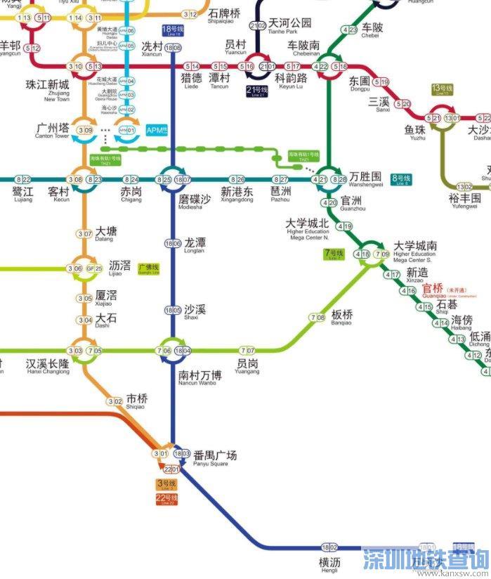2021广州地铁18号线换乘站点都有哪些?可换乘哪些地铁线路